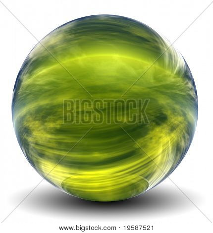 High resolution 3D yellow glass sphere with shadow isolated on white, reflecting a sky with clouds
