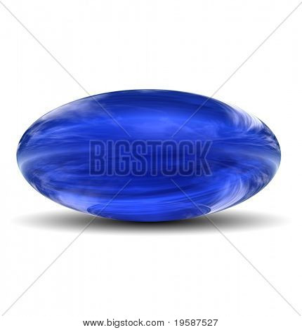 High resolution 3D blue glass ovoid with shadow isolated on white, reflecting a sky with clouds