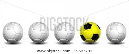 High resolution white 3D conceptual soccer balls row with one yellow and black ball standing out of the crowd, isolated on white