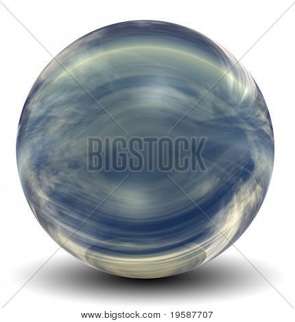 High resolution 3D yellow and blue glass sphere with shadow isolated on white, reflecting a sky with clouds