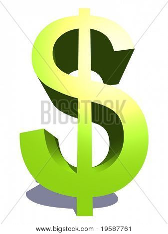 High resolution 3D green dollar symbol rendered at maximum quality ideal for web,business, or conceptual designs,isolated on white background