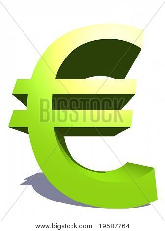 High resolution 3D green euro symbol rendered at maximum quality ideal for web,business, or conceptual designs,isolated on white background