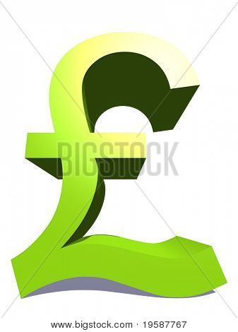 High resolution 3D green pound symbol rendered at maximum quality ideal for web,business, or conceptual designs,isolated on white background