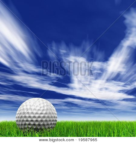 High resolution 3d white golf ball in green grass on a blue sky with clouds background