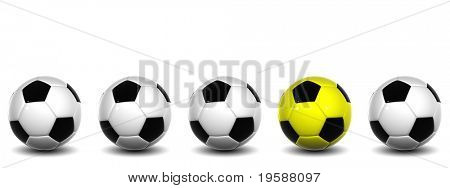 High resolution white and black 3D conceptual soccer balls row with one yellow and black ball standing out of the crowd, isolated on white