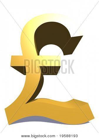 Símbolo de libra de amarillo 3D de alta resolución rindió en máxima calidad ideal para web, negocio o concep