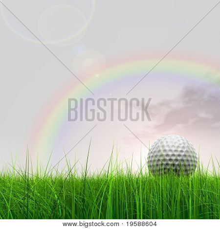 High resolution 3d golf ball in a green grass over a beautiful sky with a rainbow