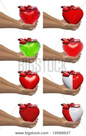 High resolution red and green 3D hearts held in hands by an adult male, ideal for love,medical,holiday,friendship or Valentine`s Day designs