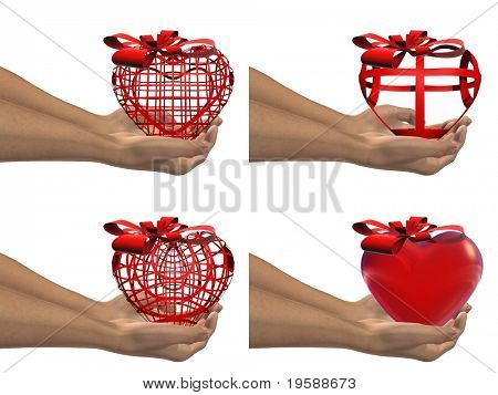 High resolution red 3D hearts held in hands by an adult male, ideal for love,medical,holiday,friendship or Valentine`s Day designs