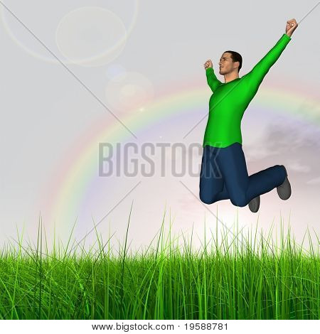 High resolution 3d human jumping happy in a green grass over a blue sky with clouds  \and a rainbow