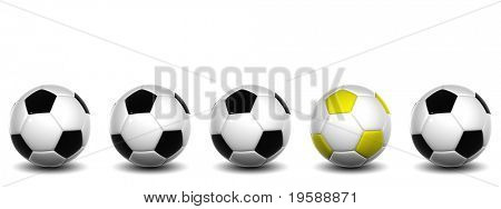 High resolution white and black 3D conceptual soccer balls row with one yellow and white ball standing out of the crowd, isolated on white