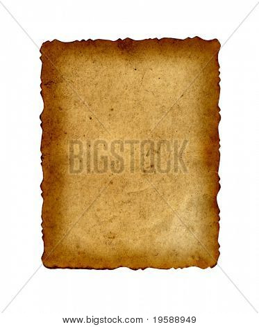 High resolution old paper isolated on white with a burned frame