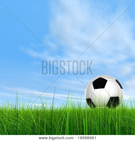 High resolution green grass with a conceptual soccer ball over a blue sky background
