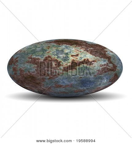 High resolution 3d rusted metal ovoid or oval isolated on white,ideal for 3D symbols, web buttons or logo designs