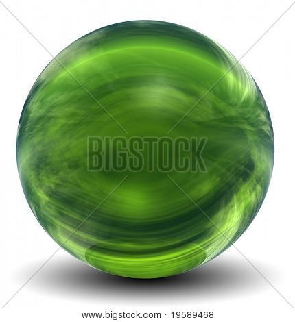 High resolution 3D green glass sphere isolated on white ideal as a web button