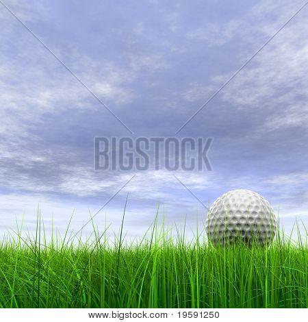 Bola de golfe branco 3d de alta resolução na grama verde em um céu azul com nuvens