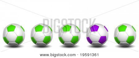 High resolution conceptual 3d soccer balls isolated on white