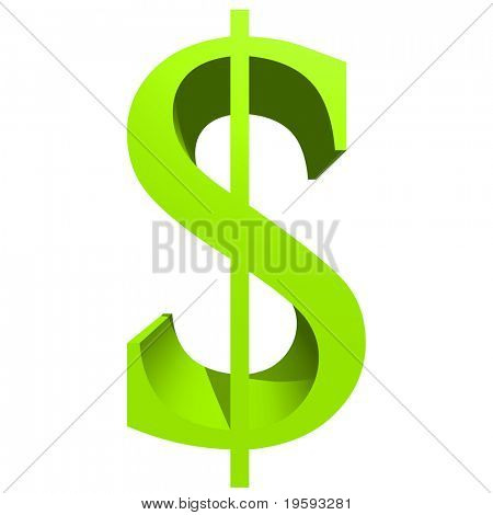 High resolution 3D green symbol isolated on white background