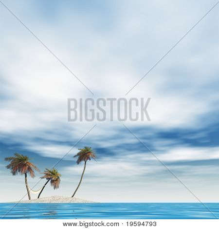High resolution conceptual island with palm trees and a hammock in blue sea water with a blue sky