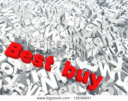 High resolution 3D conceptual best buy text isolated on white background