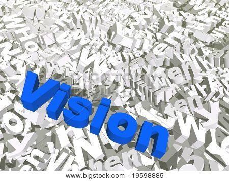High resolution 3D conceptual vision text isolated on white background