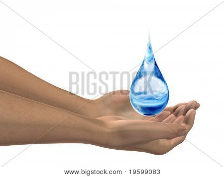 High resolution water drop falling in hands