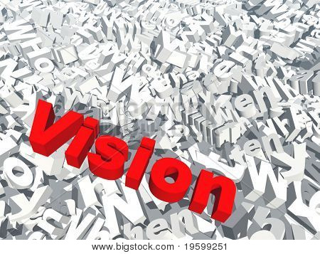 High resolution conceptual 3D red text saying vision, isolated on white background