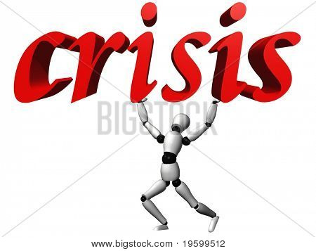 Texto de crisis conceptual rojo 3D de alta resolución por un ideal humano 3D para diseños de negocio y con