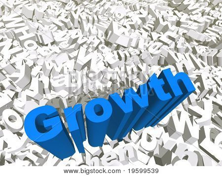 High resolution conceptual 3D blue text on a background of white texts as a crowd. The text says growth, ideal for business designs.