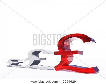 High resolution conceptual 3D graphic made of money symbols, ideal for business or money designs. Red pound symbols isolated on white background
