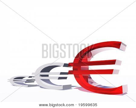 High resolution conceptual 3D graphic made of money symbols, ideal for business or money designs. Red euro symbols isolated on white background