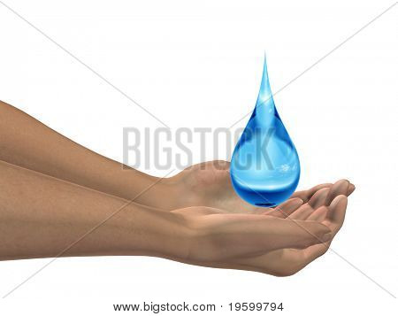 High resolution conceptual blue water drop falling in hands isolated on white background