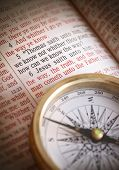 image of bible verses  - Compass and bible depicting popular bible verse John 14 - JPG