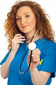 Nice Doctor Woman Holding Stethoscope
