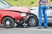Car crash accident on street poster