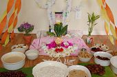 stock photo of saraswati  - closeup of objects for Hindu Religion Saraswati Puja - JPG
