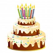 stock photo of birthday-cake  - Birthday cake and candle - JPG