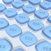 stock photo of viagra  - a 3d rendering of blue sex pills - JPG