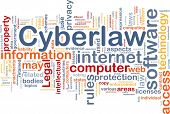 Background concept wordcloud illustration of cyberlaw