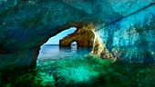 Greece, The island of Zakynthos. One of the most beautiful blue caves in the world. The Ionian Sea.  poster