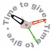 image of generous  - Time to give charity giving financial support and helping the poor fundraising by volenteers isolated clock indicating moent to be generous and donate donation to a foundation fund raising time - JPG