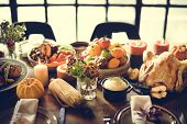 Thanksgiving Celebration Traditional Dinner Table Setting Concept poster