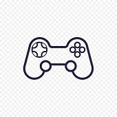 Game Controller Line Icon. Gamepad Thin Linear Signs For Video Computer Game. Outline Concept For We poster