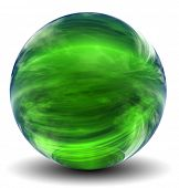 High resolution 3D green glass sphere with shadow isolated on white, reflecting a sky with clouds