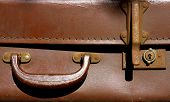 Old Leather Suitcase With Handle And Lock poster