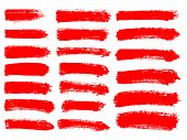 Painted Grunge Stripes Set. Red  Labels, Background poster