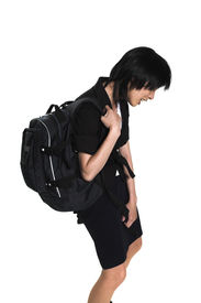 image of heavy bag  - young woman carrying back - JPG