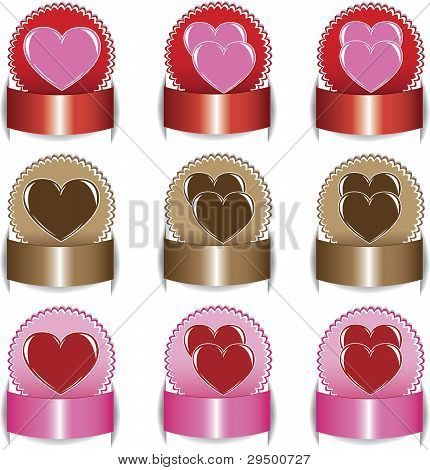 Valentine's Day, Set Elements Of Labels.