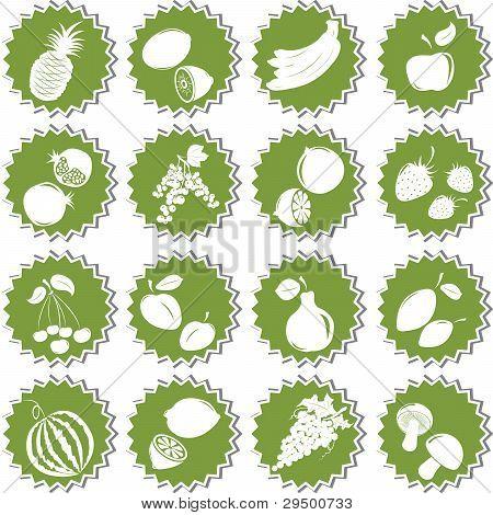 Satz von Früchten. Element des Designs für Aufkleber.