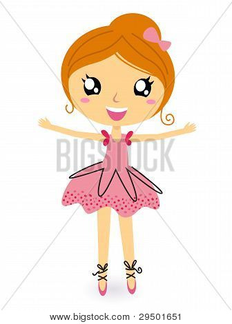 Dancing Ballerina Girl In Isolated On White
